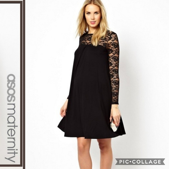 Asos Maternity Dresses Black Swing Dress With Lace Nwt Poshmark